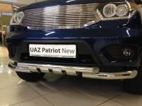 Передняя защита новый УАЗ Патриот с клыками (нерж.)
